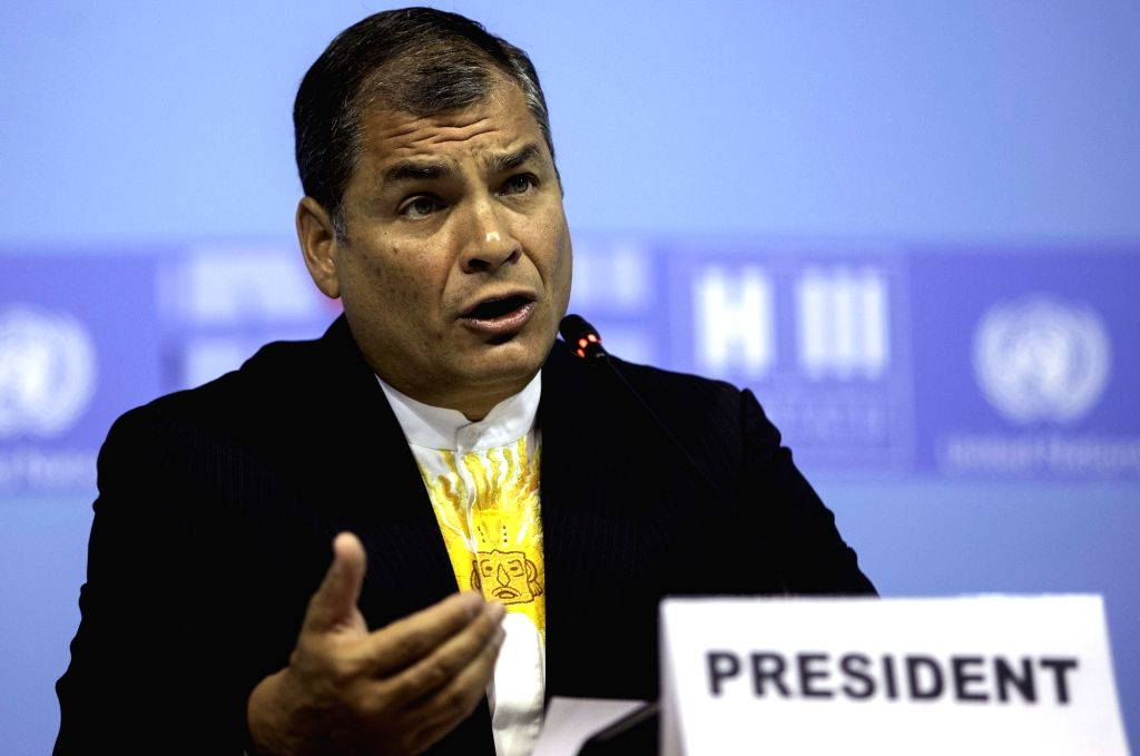 QUITO, Oct. 18, 2016 - Ecuadoran President Rafael Correa delivers a speech during the opening ceremony of the 3rd United Nations Conference on Housing and Sustainable Urban Development, or Habitat ...