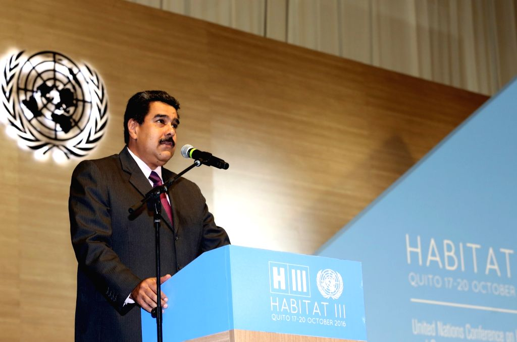 QUITO, Oct. 18, 2016 - Venezuelan President Nicolas Maduro addresses the opening ceremony of the 3rd United Nations Conference on Housing and Sustainable Urban Development, or Habitat III, in Quito, ...