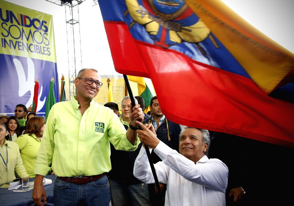 QUITO, Oct. 2, 2016 - Ecuadorean Vice President Jorge Glas (L) and former Vice President Lenin Moreno (R) take part in the National Convention of the ruling PAIS Alliance Movement in Quito, Ecuador, ...