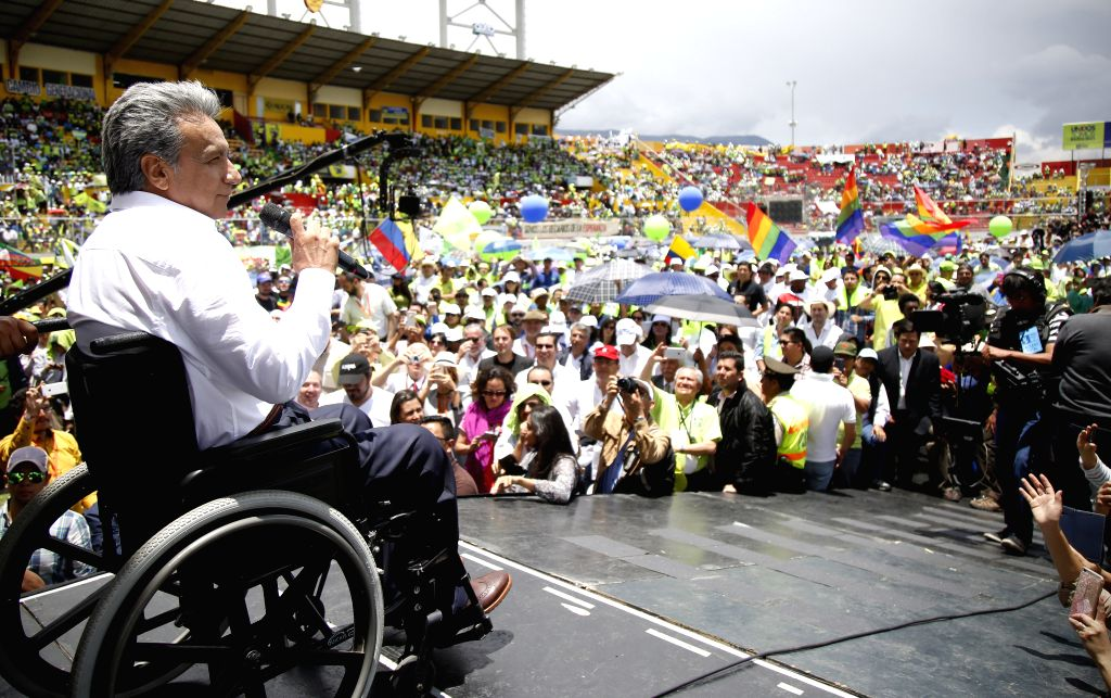 QUITO, Oct. 2, 2016 - Former Ecuadorean Vice President Lenin Moreno (L) delivers a speech during the National Convention of the ruling PAIS Alliance Movement in Quito, Ecuador, on Oct. 1, 2016. The ...