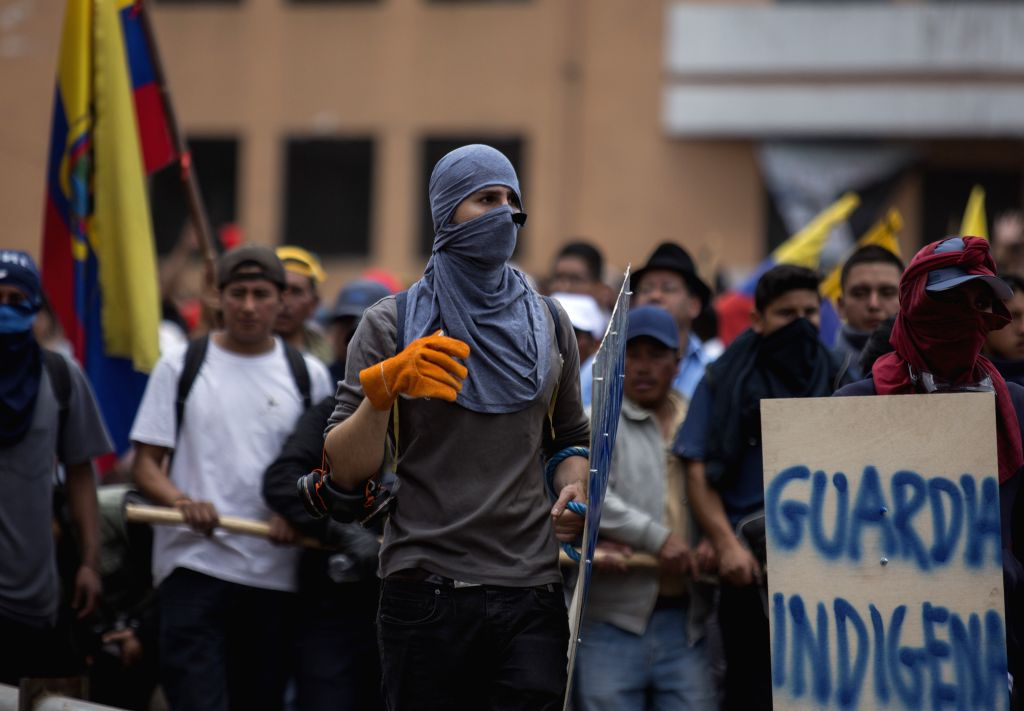 QUITO, Oct. 9, 2019 - Protesters take part in a demonstration in Quito, Ecuador, on Oct. 9, 2019. The Ecuadorian government Tuesday said it has asked the United Nations to help restore social peace ...