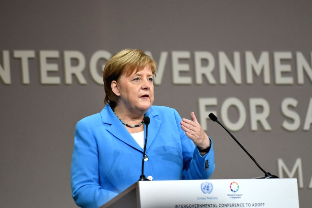 RABAT, Dec. 10, 2018 - German Chancellor Angela Merkel speaks during the UN Intergovernmental Conference on Migration to adopt the Global Compact for Safe, Orderly and Regular Migration in Marrakech, ...