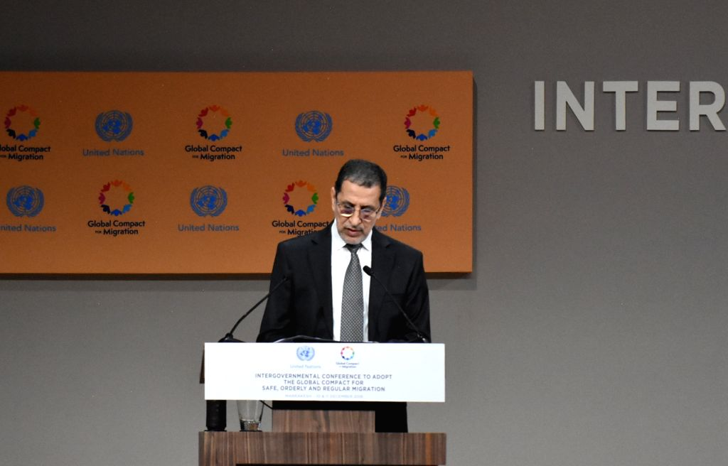 RABAT, Dec. 10, 2018 - Moroccan Prime Minister Saad Eddine El Othmani speaks during the UN Intergovernmental Conference on Migration to adopt the Global Compact for Safe, Orderly and Regular ... - Saad Eddine E