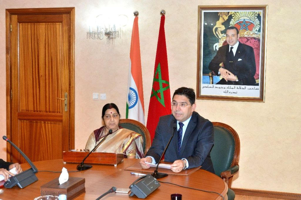 Rabat: External Affairs Minister Sushma Swaraj and Moroccon Foreign Minister Nasser Bourita during the joint press statement in Rabat, Morocco on Feb 18, 2019. - Sushma Swaraj