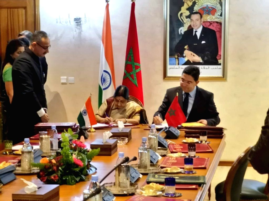 Rabat: External Affairs Minister Sushma Swaraj and Moroccon Foreign Minister Nasser Bourita sign and exchanged four documents in the fields of counter-terrorism, easing of restrictions on business visas, housing and human settlement and youth matters - Sushma Swaraj