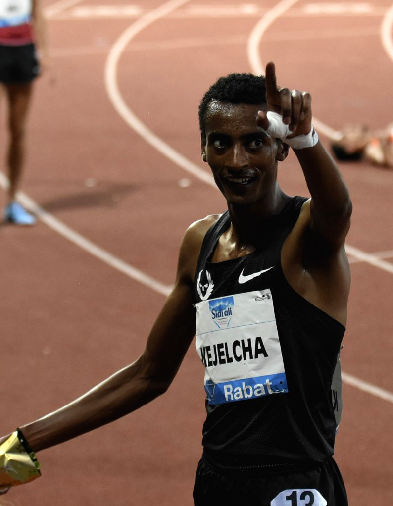 RABAT, July 14, 2018 - Ethiopia's Yomif Kejelcha celebrates after winning the men's 3000m at the IAAF Diamond League meeting in Rabat, Morocco, July 13, 2018. Yomif Kejelcha claimed the title with 7 ...