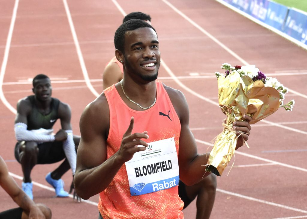 RABAT, July 14, 2018 - Jamaica's Akeem Bloomfield celebrates after winning the men's 400m at the IAAF Diamond League meeting in Rabat, Morocco, July 13, 2018. Akeem Bloomfield claimed the title with ...