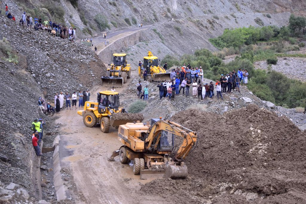 RABAT, July 26, 2019 - People gather at a landslide site in Tuk Al-Khair, Morocco, on July 25, 2019. A total of 15 people, who were killed by the landslide in southern Morocco, were unearthed on ...