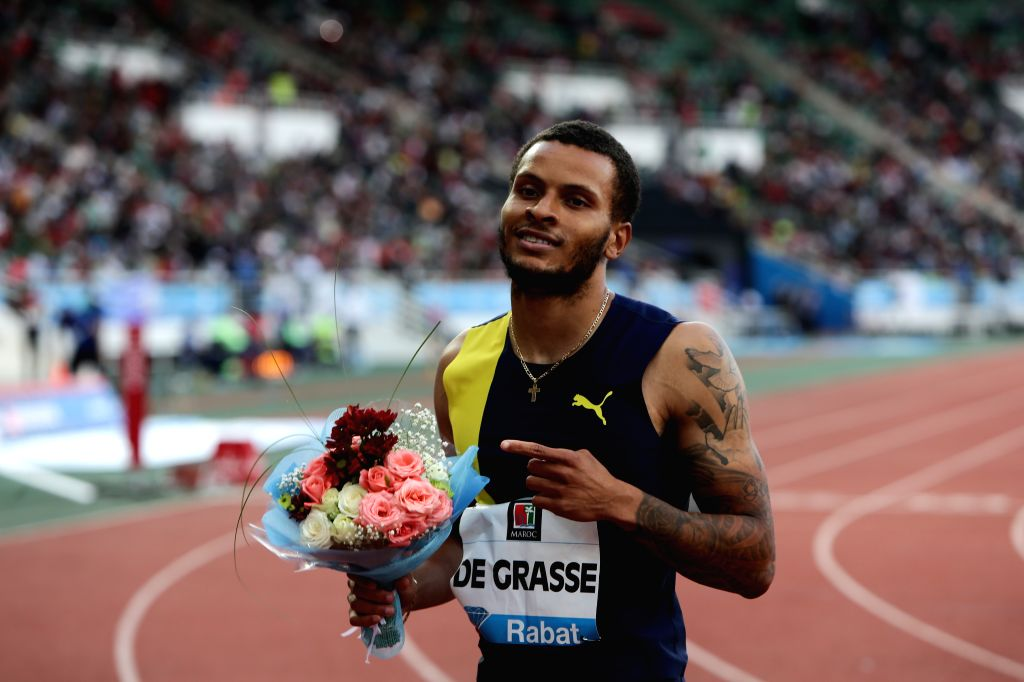 RABAT, June 17, 2019 - Andre de Grasse of Canada celebrates after the men's 200m at 2019 IAAF Diamond League in Rabat, capital of Morocco, on June 16, 2019. Andre de Grasse won the 1st place with ...