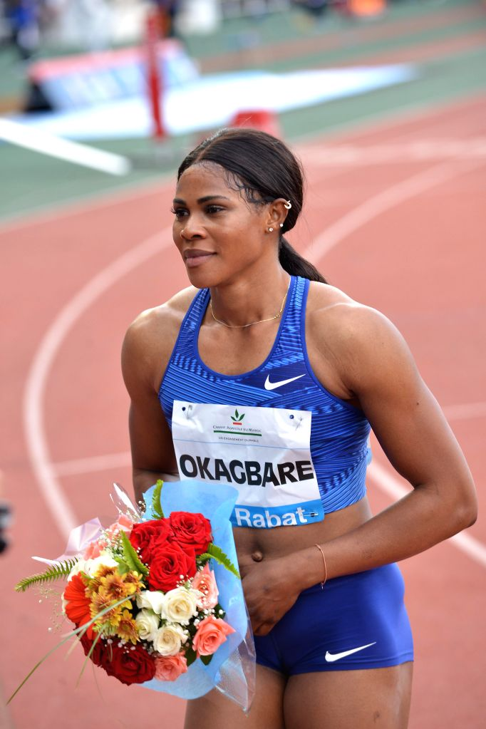 RABAT, June 17, 2019 - Blessing Okagbare of Nigeria celebrates after the women's 100m at 2019 IAAF Diamond League in Rabat, capital of Morocco, on June 16, 2019. Blessing Okagbare won the 1st place ...