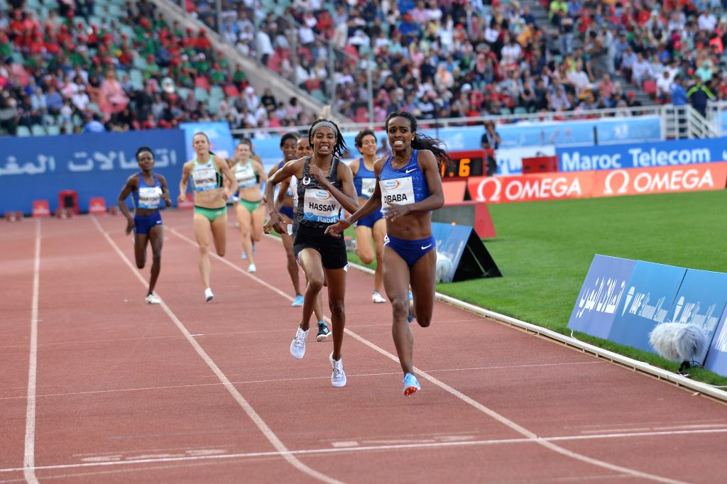 RABAT, June 17, 2019 - Dibaba Genzebe(1st R) of Ethiopia competes during the women's 1500m at 2019 IAAF Diamond League in Rabat, capital of Morocco, on June 16, 2019. Dibaba Genzebe won the 1st place ...