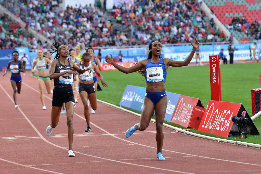 RABAT, June 17, 2019 - Dibaba Genzebe(1st R) of Ethiopia celebrates after the women's 1500m at 2019 IAAF Diamond League in Rabat, capital of Morocco, on June 16, 2019. Dibaba Genzebe won the 1st ...