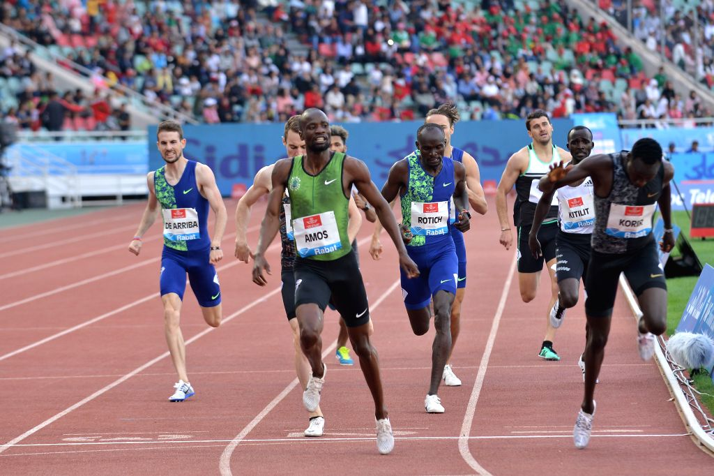 RABAT, June 17, 2019 - Nijel Amos(Front L) of Botswana reacts after the men's 800m at 2019 IAAF Diamond League in Rabat, capital of Morocco, on June 16, 2019. Nijel Amos won the 1st place with ...