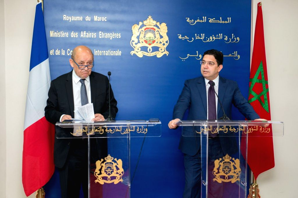 RABAT, June 9, 2019 - Moroccan Foreign Minister Nasser Bourita (R) and his French counterpart Jean-Yves Le Drian attend a joint press briefing in Rabat, capital of Morocco, on June 8, 2019. Morocco ... - Nasser Bourita