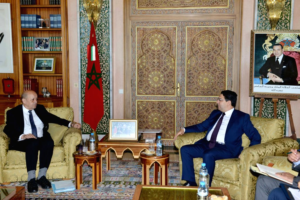 RABAT, June 9, 2019 - Moroccan Foreign Minister Nasser Bourita (R) meets with his French counterpart Jean-Yves Le Drian in Rabat, capital of Morocco, on June 8, 2019. Morocco does not know any peace ... - Nasser Bourita