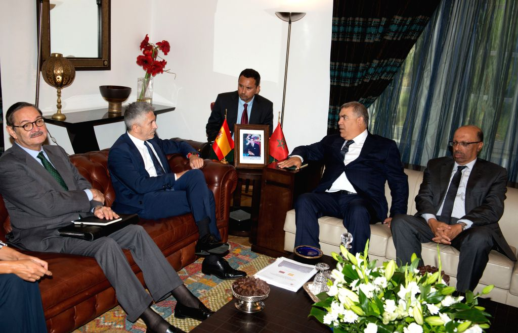 RABAT, Sept. 4, 2019 - Moroccan Interior Minister Abdelouafi Laftit (2nd R) meets with his Spanish counterpart Fernando Grande-Marlaska (2nd L) in Rabat, Morocco, on Sept. 4, 2019. Moroccan Interior ... - Abdelouafi Laftit