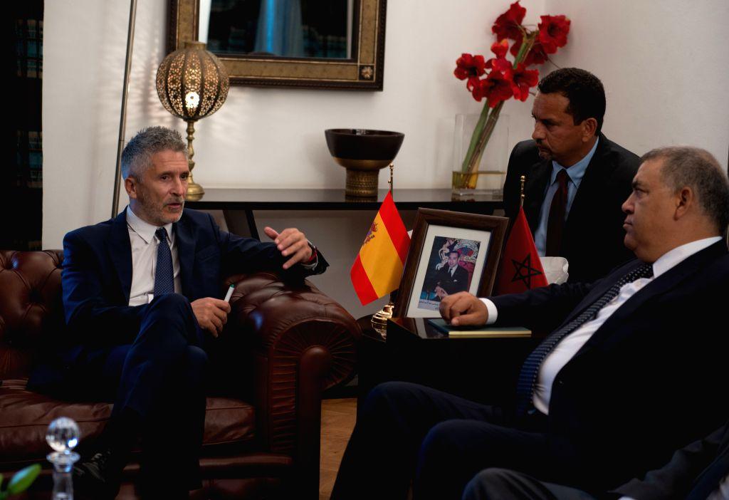 RABAT, Sept. 4, 2019 - Moroccan Interior Minister Abdelouafi Laftit (R) meets with his Spanish counterpart Fernando Grande-Marlaska (L) in Rabat, Morocco, on Sept. 4, 2019. Moroccan Interior Minister ... - Abdelouafi Laftit