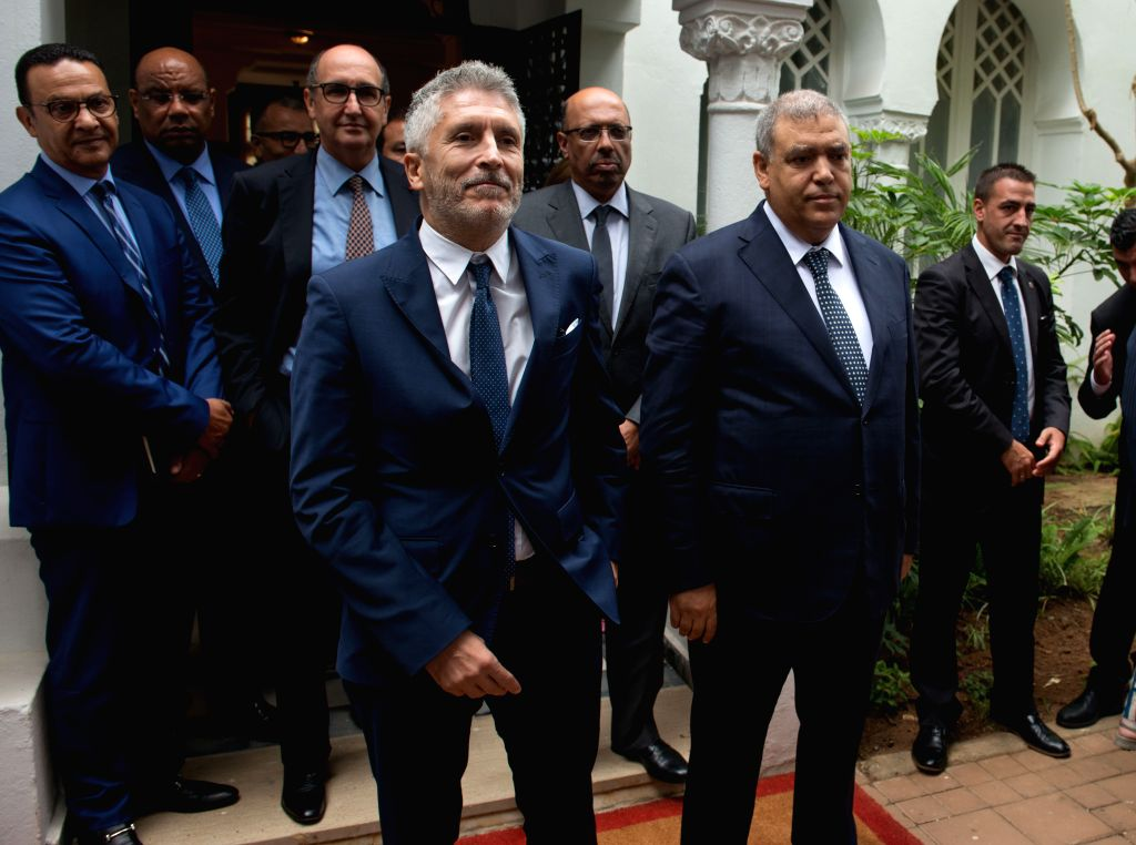RABAT, Sept. 4, 2019 - Moroccan Interior Minister Abdelouafi Laftit (R, Front) and his Spanish counterpart Fernando Grande-Marlaska (L, Front) pose for photos in Rabat, Morocco, on Sept. 4, 2019. ... - Abdelouafi Laftit
