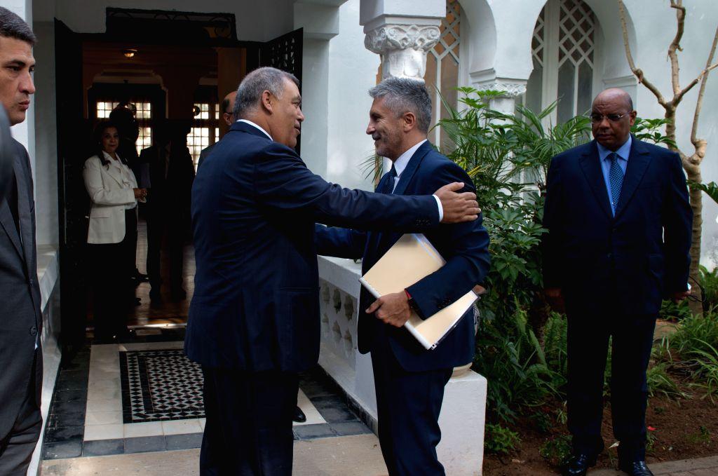 RABAT, Sept. 4, 2019 - Moroccan Interior Minister Abdelouafi Laftit (3rd R) greets his Spanish counterpart Fernando Grande-Marlaska (2nd R) in Rabat, Morocco, on Sept. 4, 2019. Moroccan Interior ... - Abdelouafi Laftit