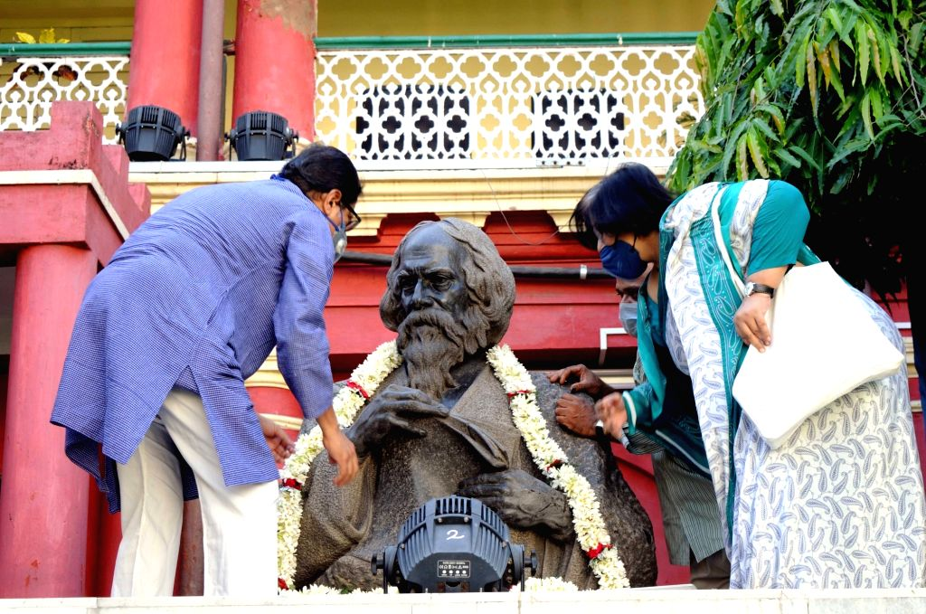 Rabindra Bharati University Vice-Chancellor Sabyasachi Basu Roy Chowdhury pays tribute to Rabindranath Tagore on his birth anniversary during the extended nationwide lockdown imposed to ...