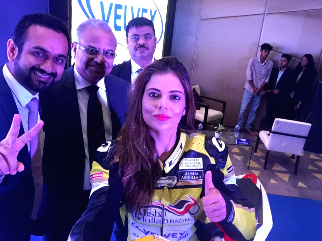Racer Alisha Abdullah during a programme organised by a petrochemical company, in New Delhi on Sept 3, 2018.