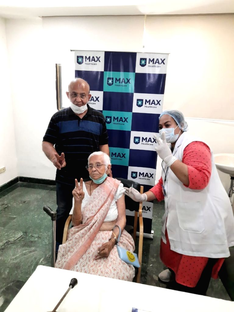 Radha Rani, resident of Dayanand Vihar aged 95 after getting a jab.