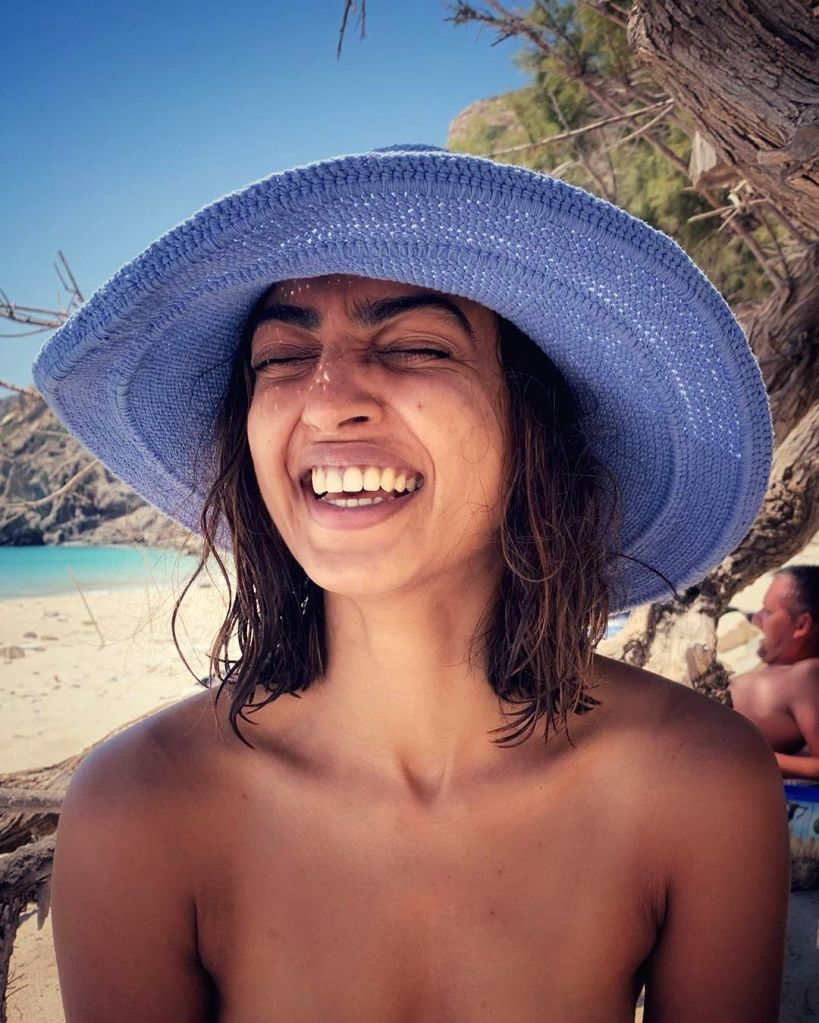 Radhika Apte shares a 'happy' picture in 'birth suit' from beach.