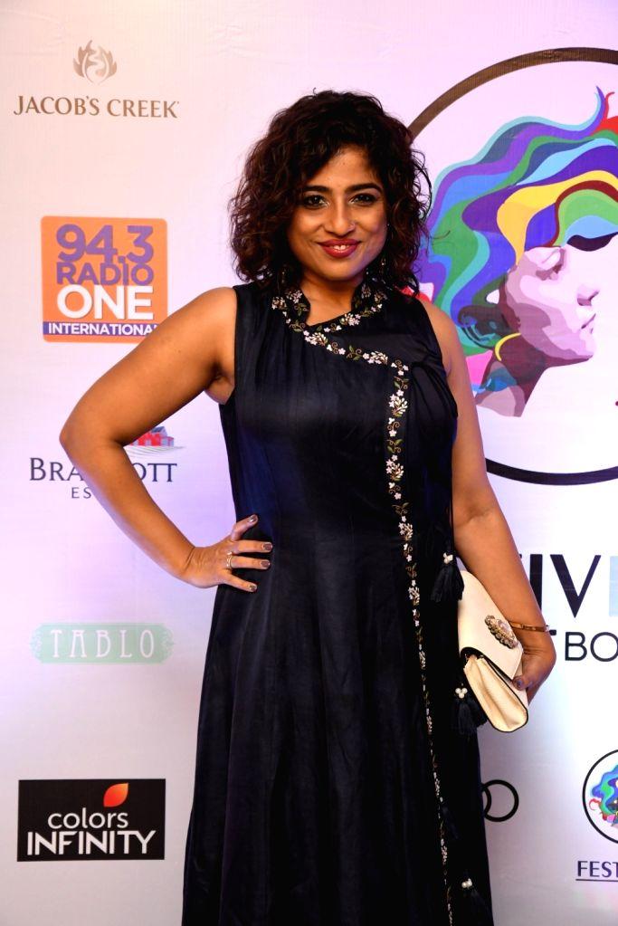 Radio Jockey Malishka Mendonsa at 'Festivelle Boss Lady' - a cultural programme curated by actors Gul Panag and Shruti Seth, in Mumbai on Nov 17, 2018. - Gul Panag and Shruti Seth