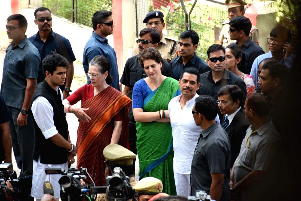 Rae Bareilly: Rae Bareilly: UPA Chairperson and Congress's Lok Sabha candidate from Rae Bareilly, Sonia Gandhi accompanied by Congress General Secretary (Uttar Pradesh East) Priyanka Gandhi Vadra, son-in-law Robert Vadra, and grandson Rehan ahead of  - Sonia Gandhi and Priyanka Gandhi Vadra