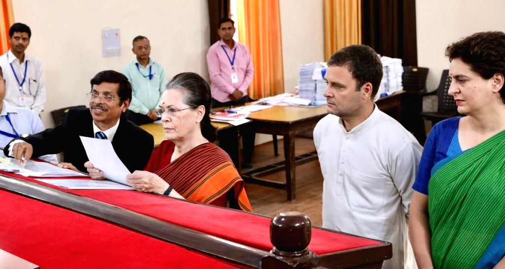 Rae Bareilly: UPA Chairperson and Congress's Lok Sabha candidate from Rae Bareilly, Sonia Gandhi accompanied by Congress President Rahul Gandhi and party General Secretary (Uttar Pradesh East) ... - Sonia Gandhi, Rahul Gandhi and Priyanka Gandhi Vadra