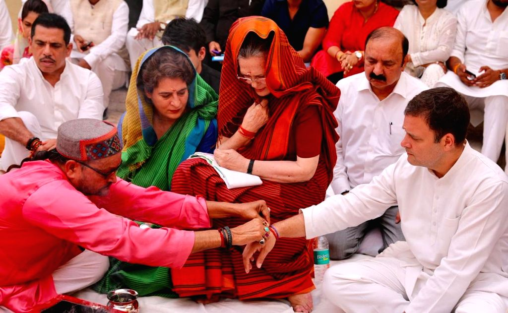 Rae Bareilly: UPA Chairperson and Congress's Lok Sabha candidate from Rae Bareilly, Sonia Gandhi with her children and party leaders Priyanka Gandhi Vadra and Rahul Gandhi and son-in-law Robert Vadra ... - Sonia Gandhi, Priyanka Gandhi Vadra and Rahul Gandhi