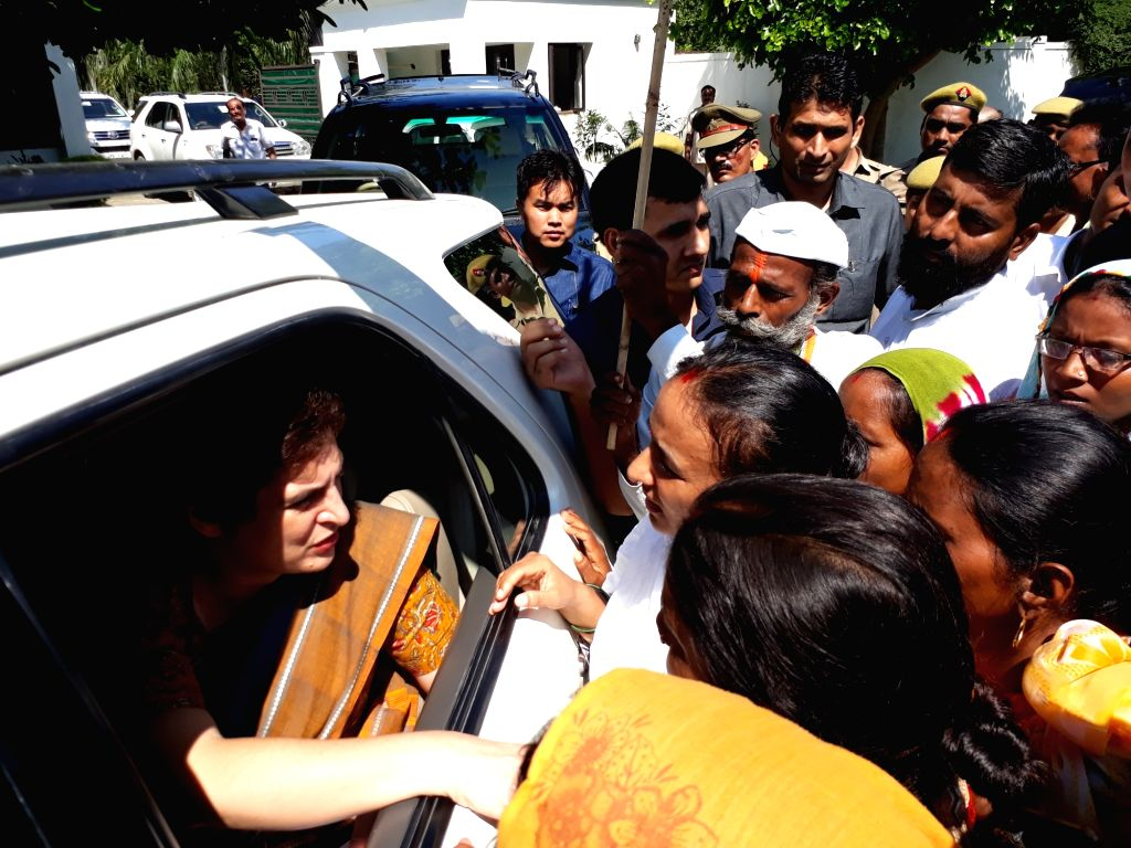 Raebareli: Congress General Secretary Priyanka Gandhi Vadra meets people during her visit to Raebareli, Uttar Pradesh on Aug 27, 2019. (Photo: IANS)