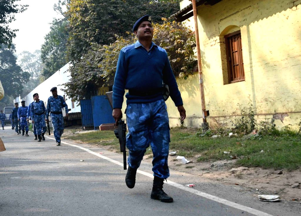 RAF personnel conduct flag march at Patna University on Jan 22, 2018.
