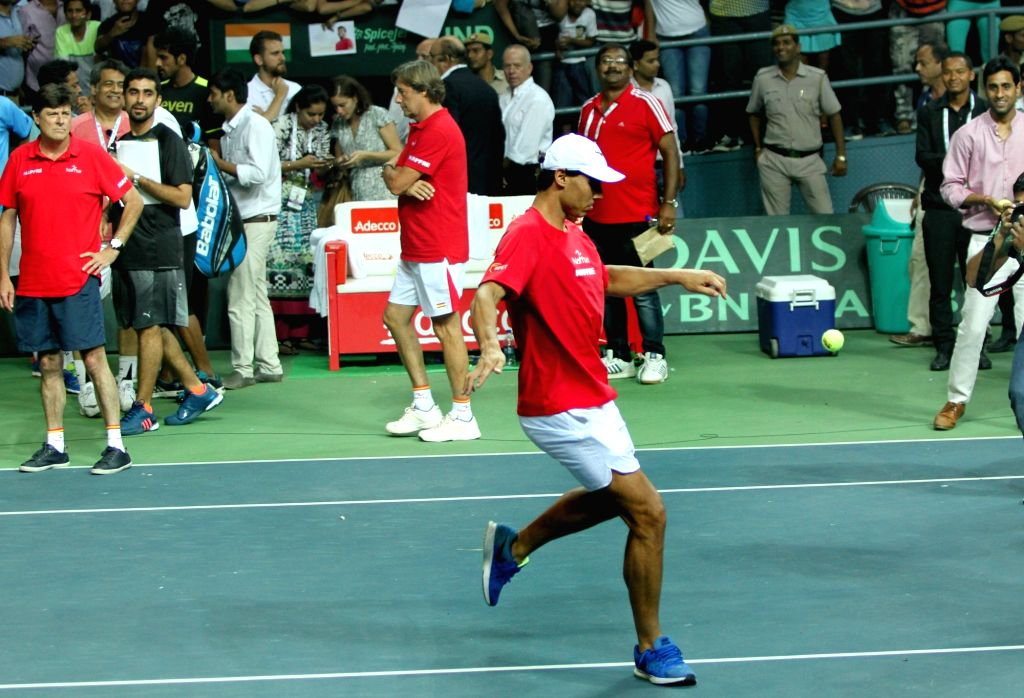 Rafael Nadal of Spain during Davis Cup World Group Play-off match at RK Khanna Tennis Stadium in New Delhi on Sept 18, 2016. Spain won.