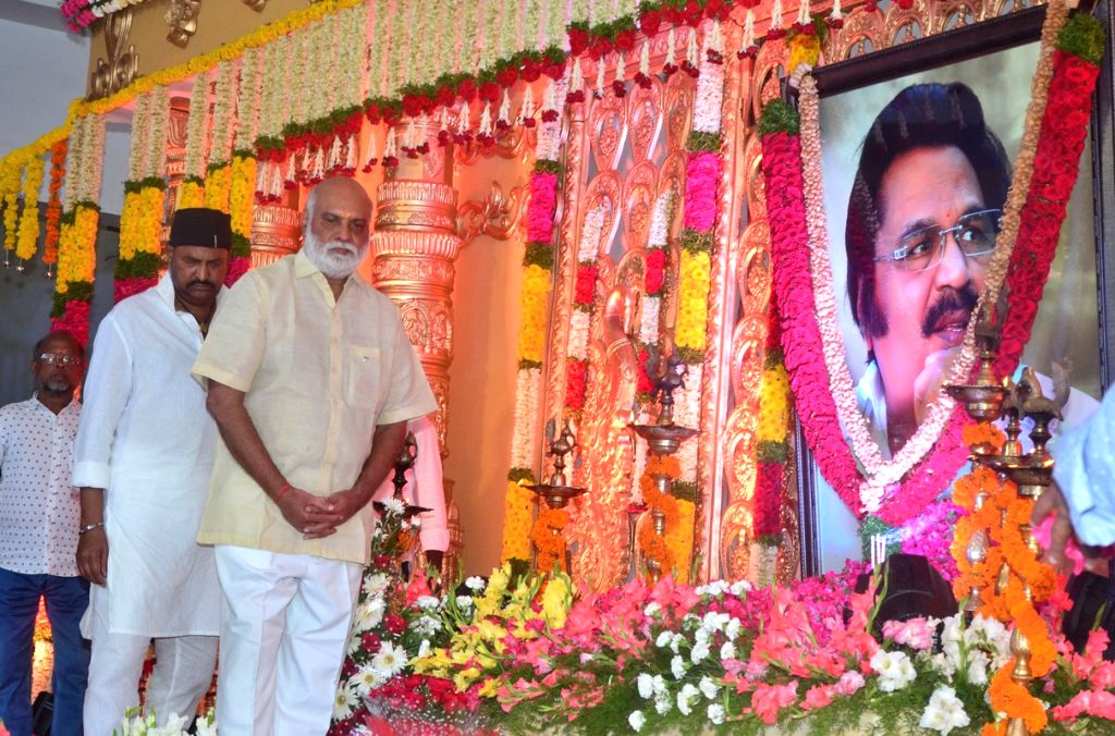 Raghavendra Rao and Mohan Babu pay tribute to late filmmaker Dasari Narayana Rao during a programme in Hyderabad on June 11, 2017.He passed away on 30th May 2017. - Raghavendra Rao and Dasari Narayana Rao