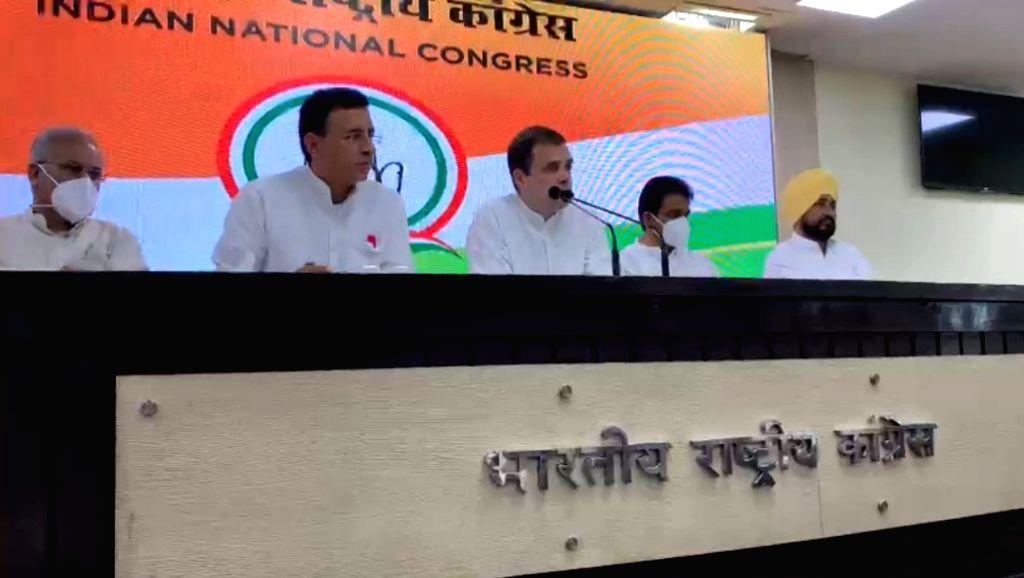 Rahul Gandhi addressing PC in New Delhi ahead of his visit to Lakhimpur Kheri. - Rahul Gandhi