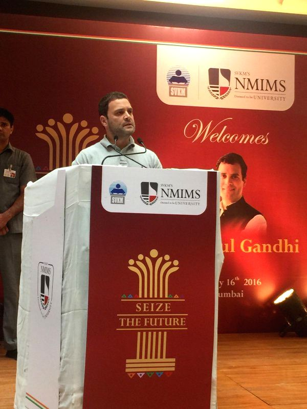 Rahul Gandhi adresses with students of NMIMS, Vile Parle, Mumbai on Saturday