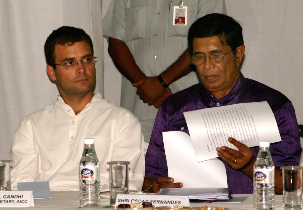 Rahul Gandhi and Oscar Fernandes at the CWC meeting at Congress headquarter, in New Delhi on Sunday. - Rahul Gandhi and Fernandes