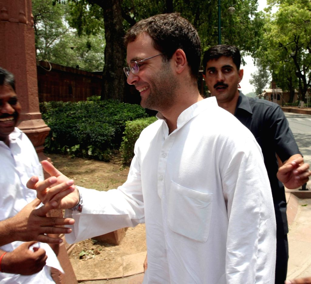 Rahul Gandhi at Parliament House to attend Congress Parliamentry Party meeting on Tuesday.