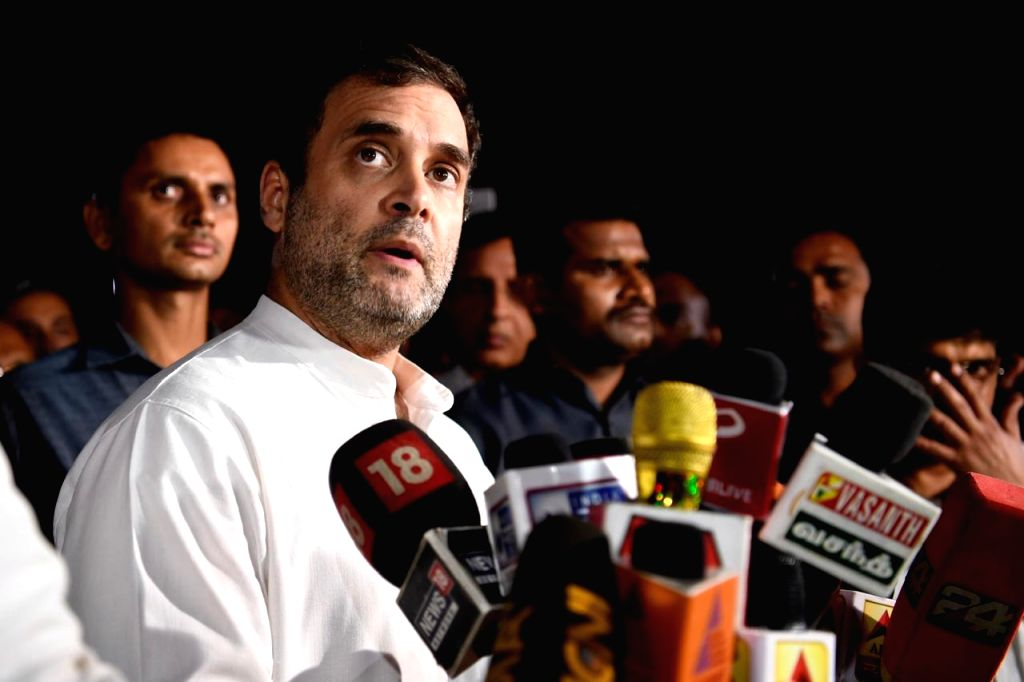 Rahul Gandhi talks to press outside Congress Headquarters in New Delhi on Aug 10, 2019. - Rahul Gandhi