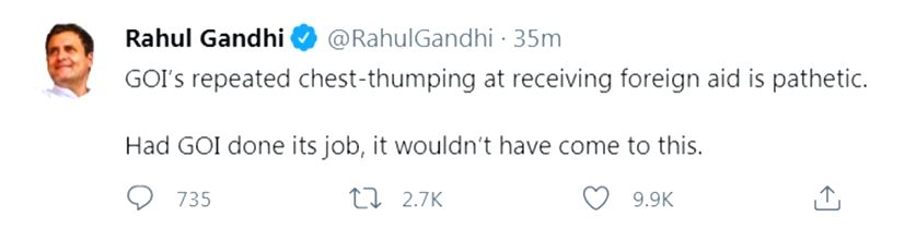 Rahul slams Centre over foreign aid amid pandemic.(photo:Twitter)