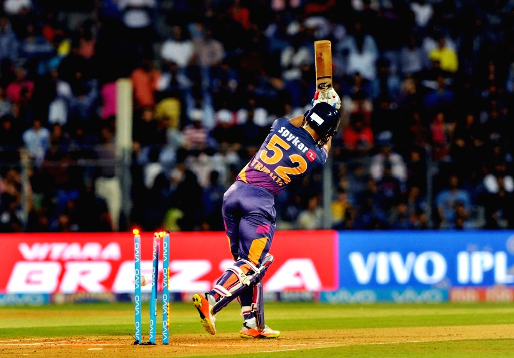 Rahul Tripathi of Rising Pune Supergiant gets dismissed during the first qualifier of IPL 2017 between Mumbai Indians and Rising Pune Supergiant at Wankhede Stadium in Mumbai on May 16, 2017. - Rahul Tripathi