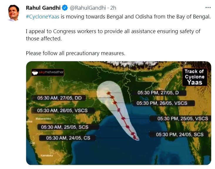 Rahul urges party workers to help those affected by Yaas.(photo:Rahul gandhi Twitter)