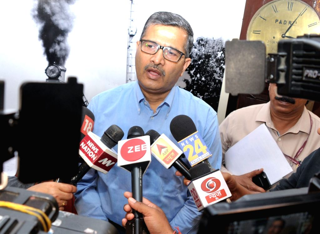 Railway Board Chairman Ashwani Lohani interacts with the media persons on the occasion of the Media Group visit to National Rail Museum at Chanakyapuri in New Delhi on April 5, 2018.