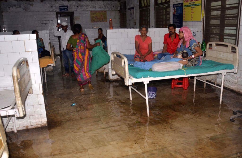 Rain waters inundate a hospital in Bihar's Muzaffarpur, on July 25, 2019.