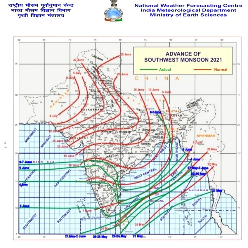 Rainfall likely over East India from June 10