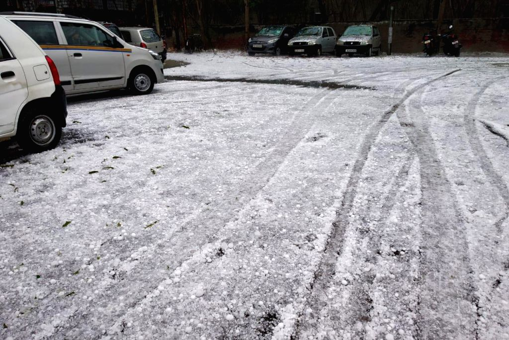 Rains accompanied by hailstorm hits Noida and adjoining areas on Feb 7, 2019.