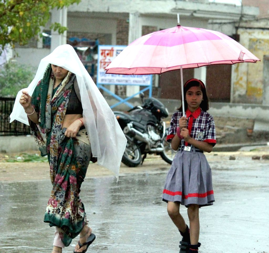 Rains in Mathura on July 1, 2016.