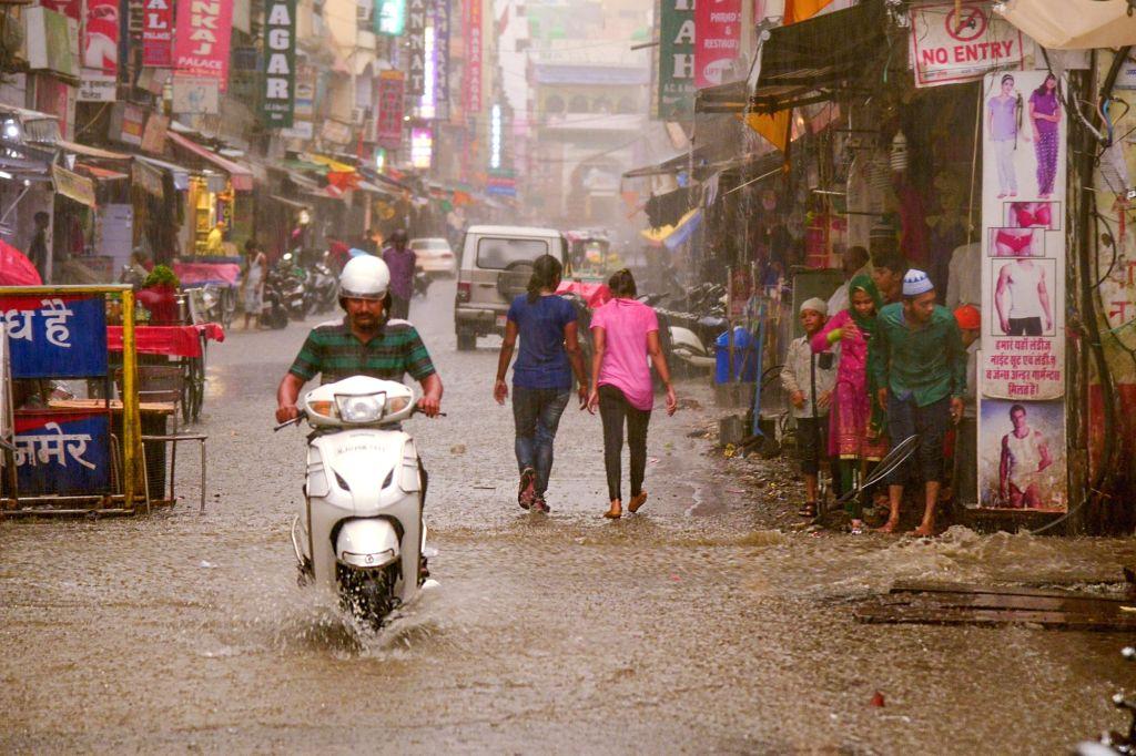 Rains lash Ajmer on May 29, 2017.
