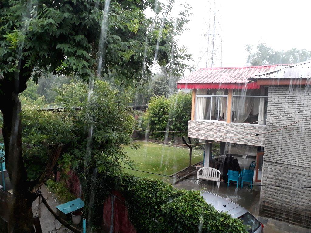Rains lash Baramulla on June 18, 2017.